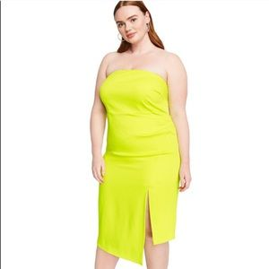 Cushnie x Target Strapless Neon Lime Green Dress